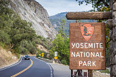 Yosemite, USA - October 9, 2015: Entrance sign at the road leading to Yosemite National Park, USA