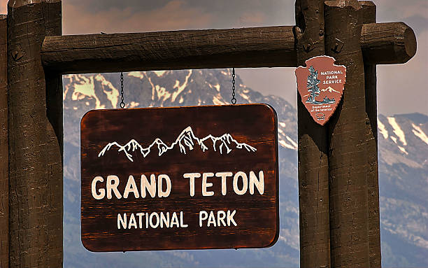 Entrance Sign, Grand Teton National Park, Jackson Hole, Wyoming, USA stock photo