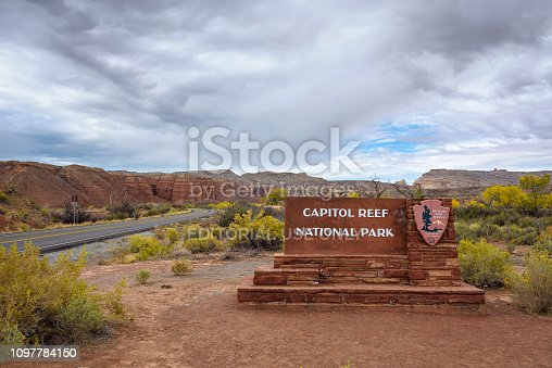 Welcome sign at the entrance to Capitol Reef National park, Utah