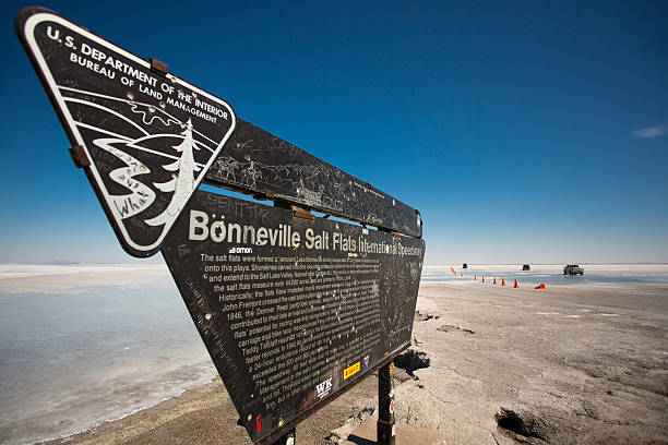 Entrance sign on the flats in UT Bonnevile Salt Flats, UT, USA, September 8, 2012: Entrance sign to the Bonneville Salt Flats Recreation Area Utah USA bonneville salt flats stock pictures, royalty-free photos & images