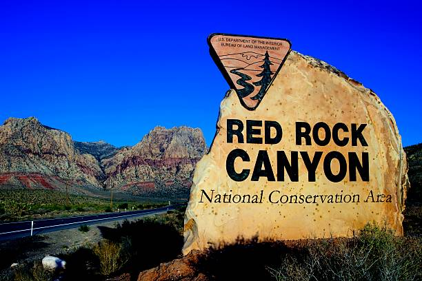 Entrance Sign, Red Rock Canyon National Conservation Area, Las Vegas stock photo