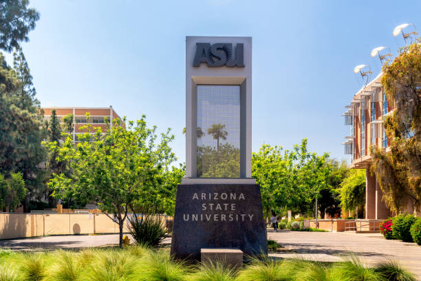 Entrance Sign to Arizona State University stock photo