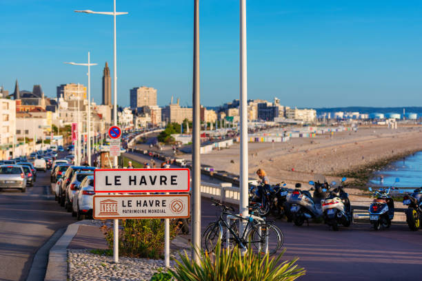 Entrance Sign to Le Havre Normandy France Le Havre, France - September 15, 2018: Entrance Sign to Le Havre, Normandy, France. Since 2005 the downtown area of Le Havre has been declared an Unesco World Heritage site. le havre stock pictures, royalty-free photos & images