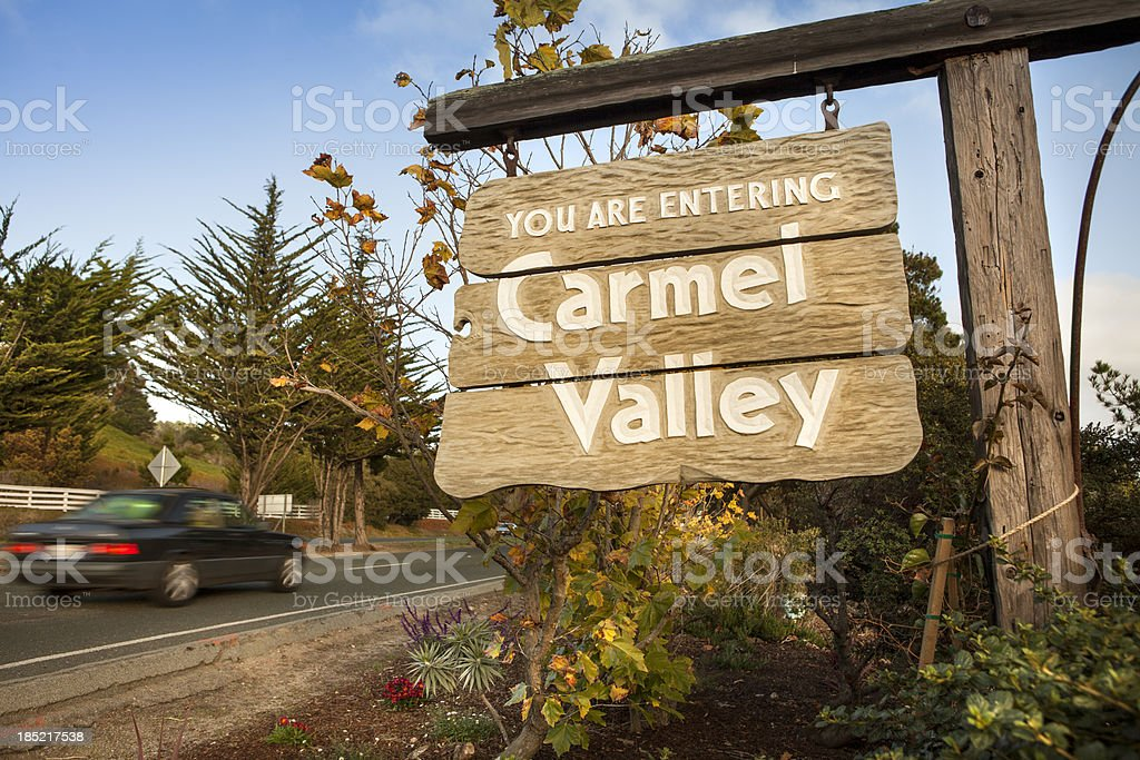 Entrance sign to the Carmel Valley stock photo