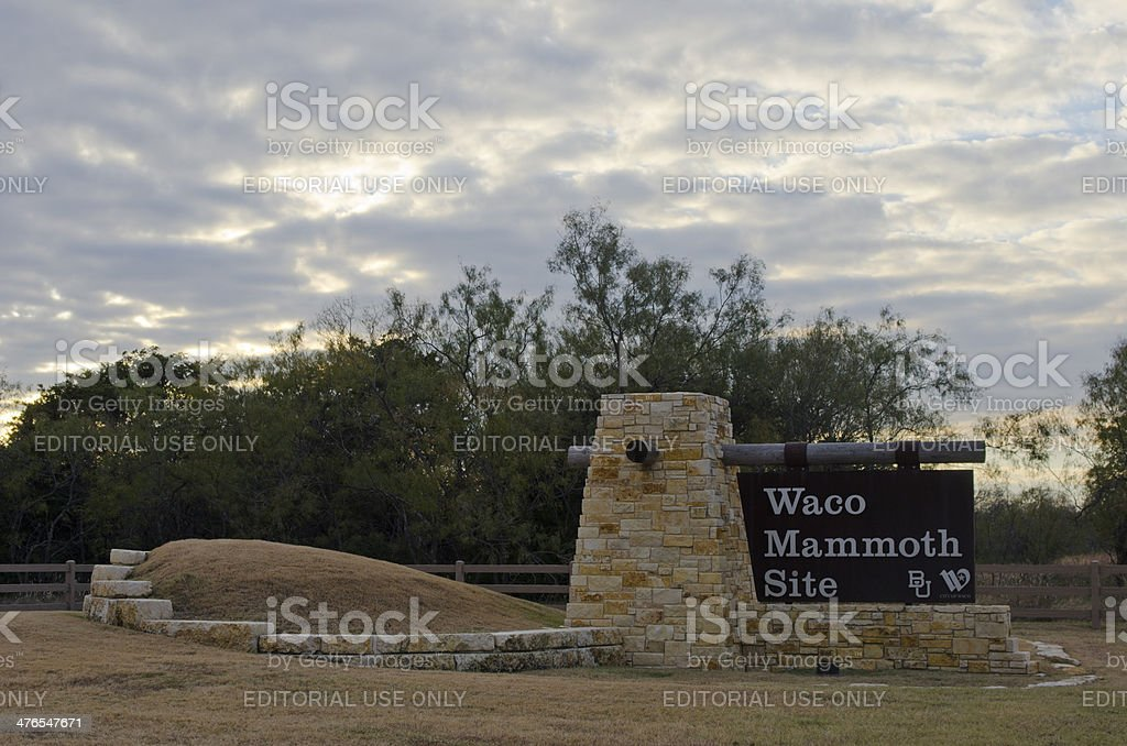 Entrance Sign to Waco Mammoth Site stock photo