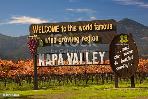 Napa, California, United States - November 29, 2008: Famous Entrance Sign Vineyards Napa California