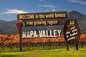 Napa, California, United States - November 29, 2008: Famous Entrance Sign Vineyards Napa California