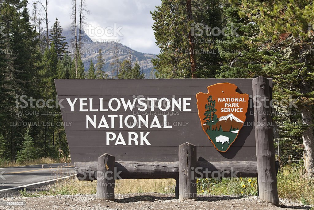 Entrance sign Yellowstone National Park stock photo