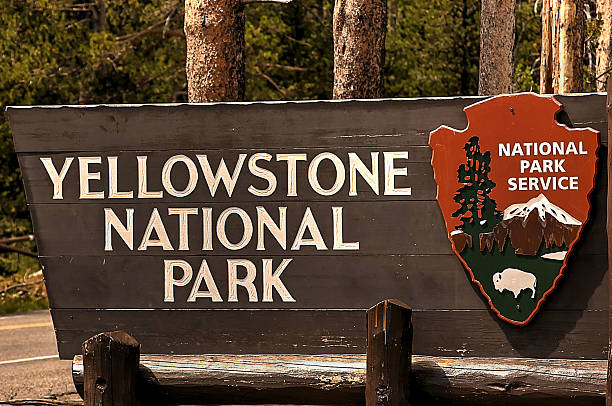 Entrance Sign, Yellowstone National Park, Wyoming, USA stock photo