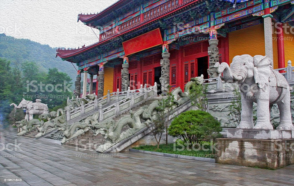 Entrance to a buddhist temple in Jiuhuashan, china stock photo