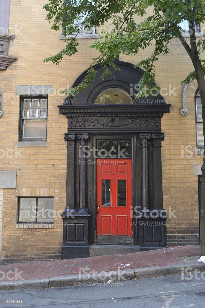 Entrance to a building of apartments and offices stock photo