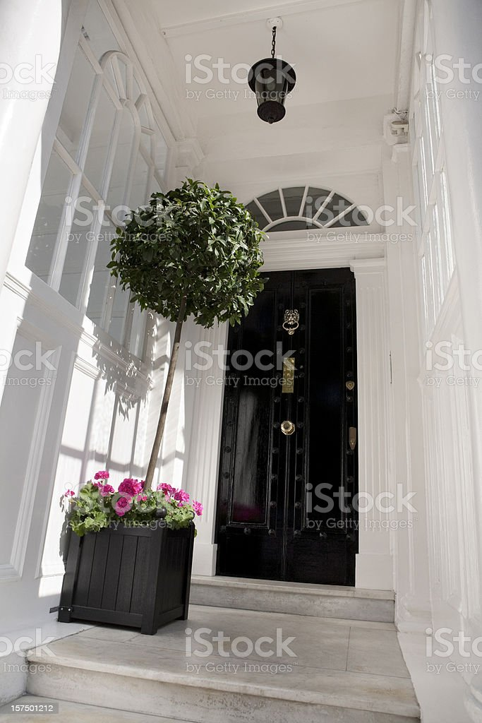 Entrance to a central London House stock photo