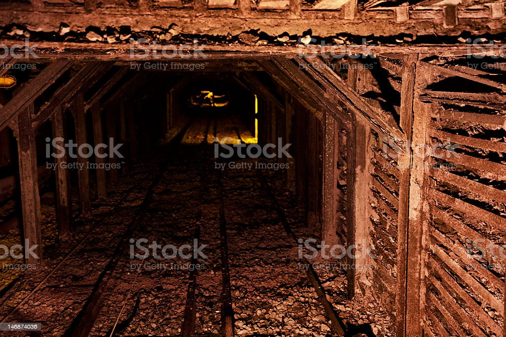 Entrance to a disused mine stock photo
