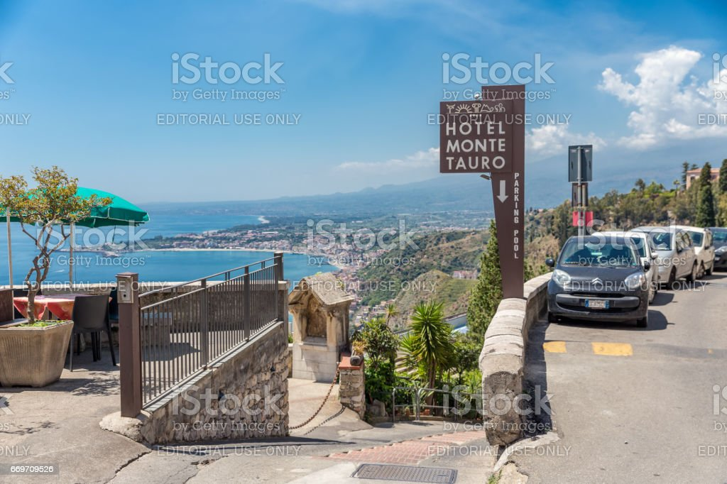 Entrance to a four star hotel in Taormina at Sicily stock photo