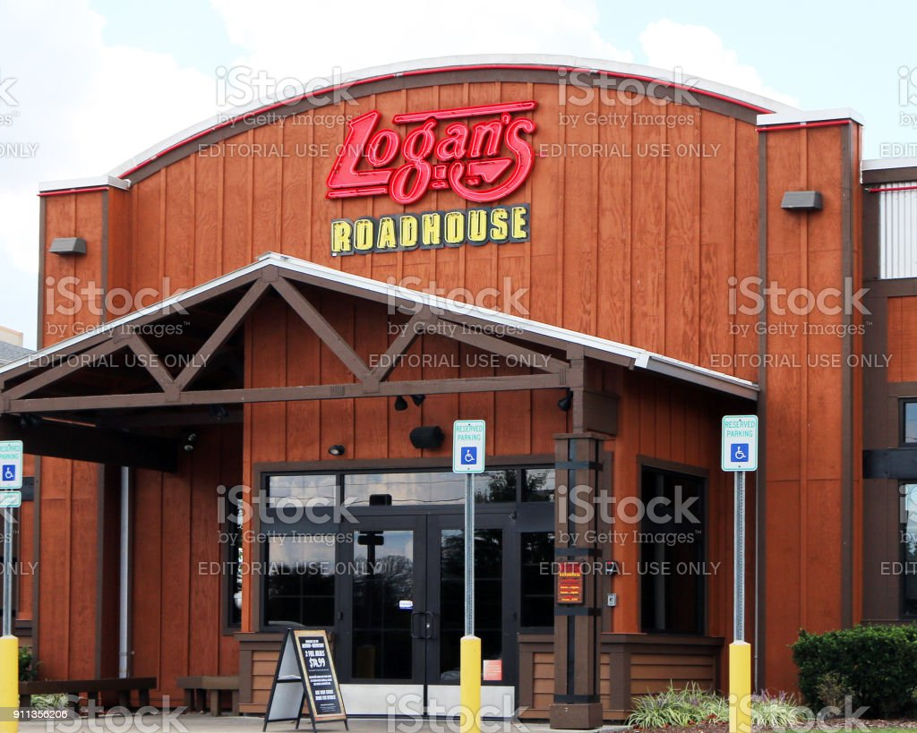Entrance to a steakhouse stock photo
