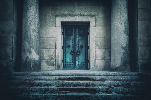 entrance to a tomb - crypt stock pictures, royalty-free photos & images