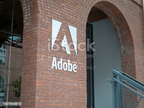 SAN FRANCISCO, CA JULY 1, 2018: Entrance to Adobe San Francisco office location in historic Baker and Hamilton warehouse