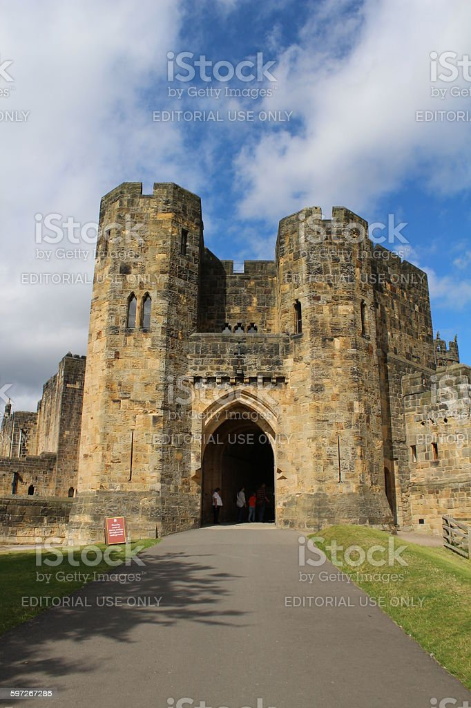 Entrance to Alnwick Castle stock photo