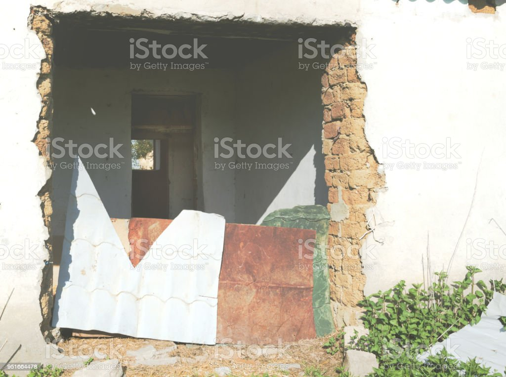 Entrance to an abandoned building stock photo