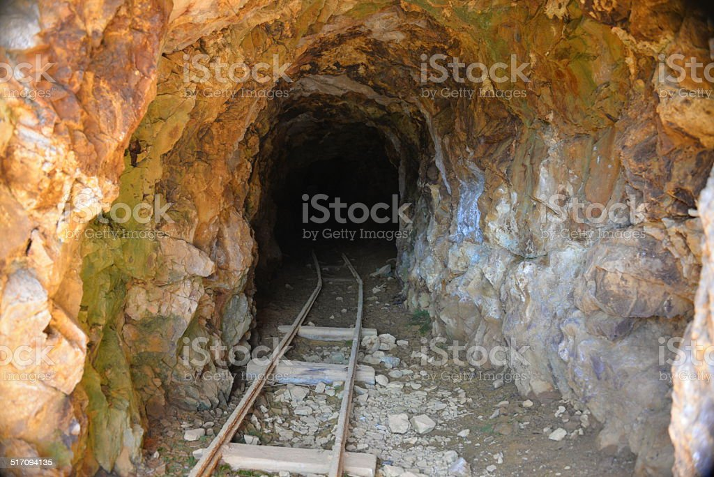 Entrance to an abandoned mine stock photo