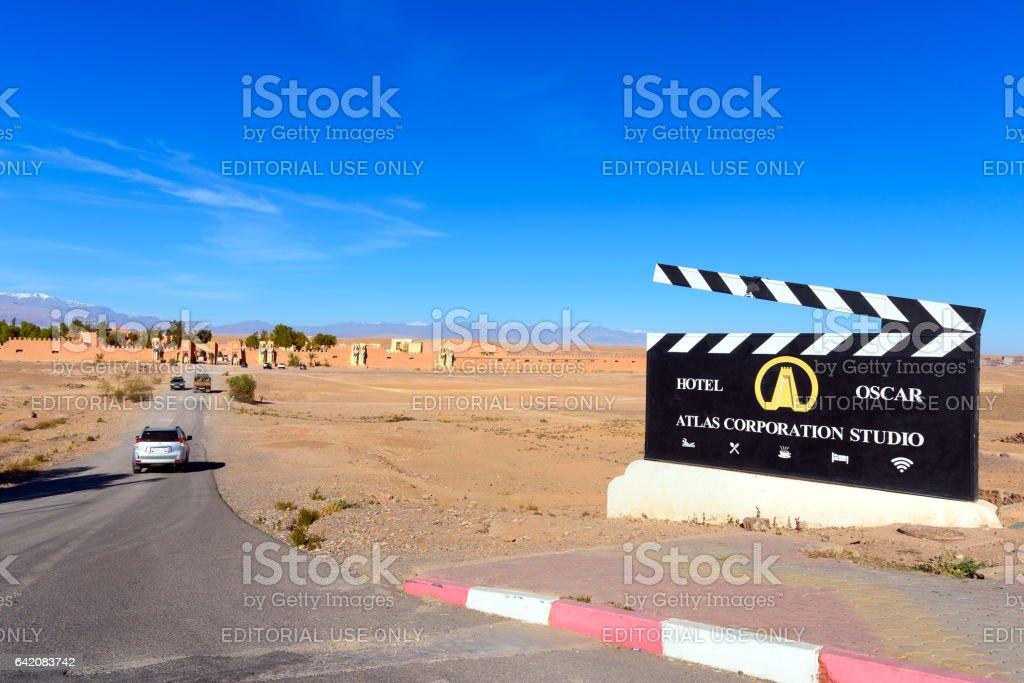 Entrance to Atlas Corporation Studios. Ouarzazate stock photo