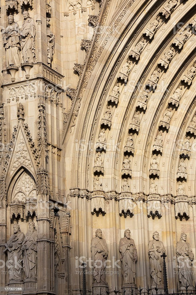 Entrance to Barcelona cathedral royalty-free stock photo