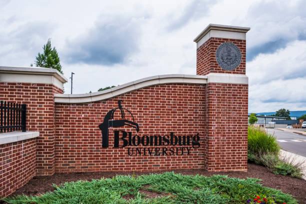 Entrance to Bloomsburg University stock photo