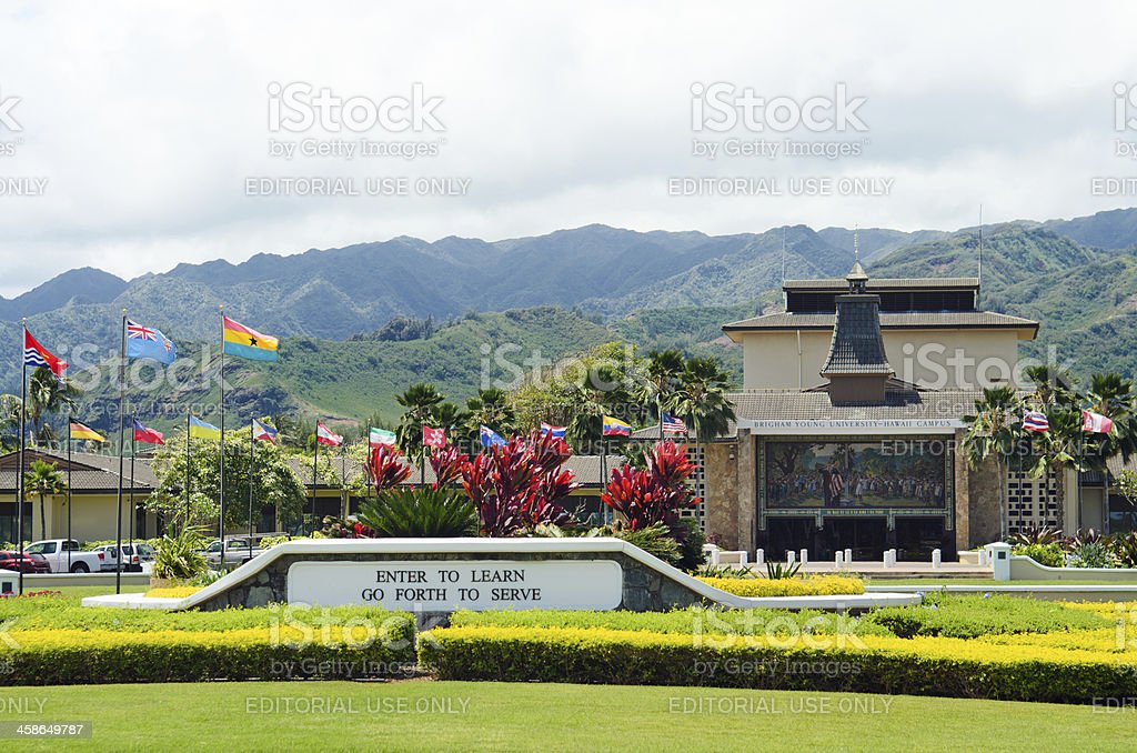 entrance to brigham young university hawaii campus stock photo