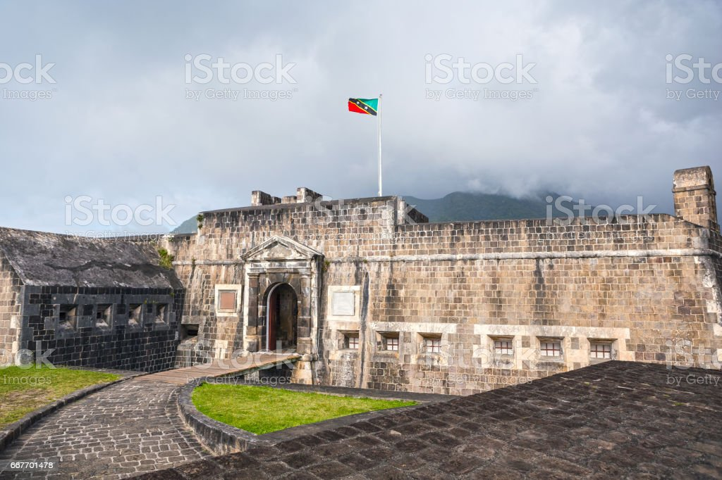 Entrance to Brimstone Hill Fortress in St. Kitts stock photo
