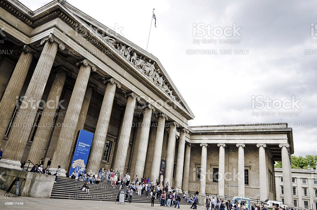 Entrance to British Museum in London, England stock photo