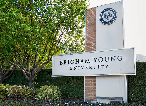 Entrance to Campus of Brigham Young University. stock photo