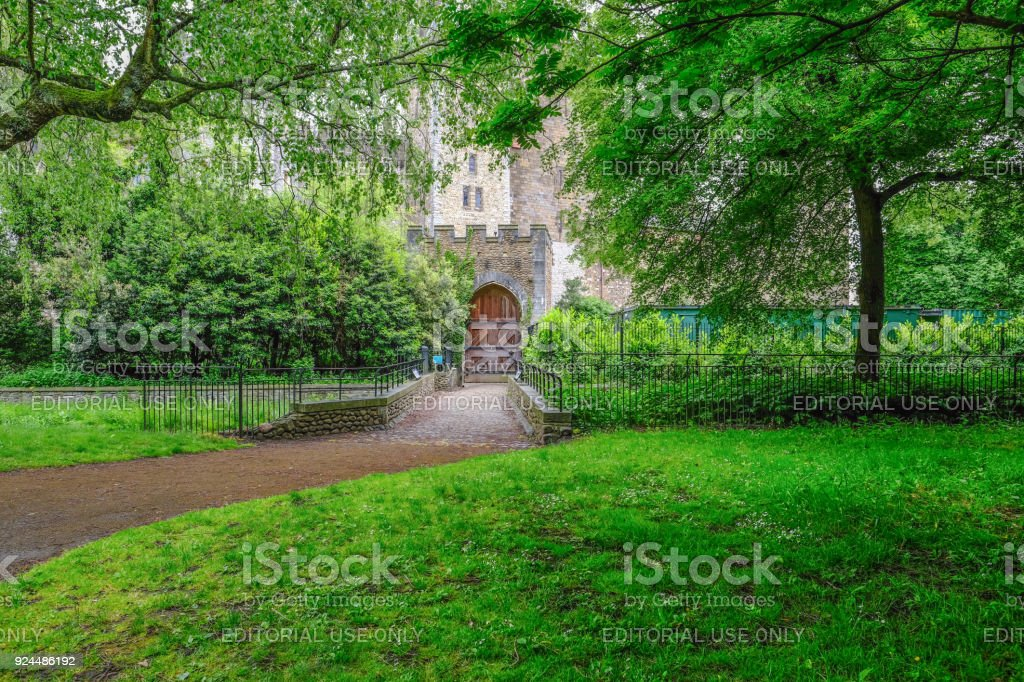 Entrance to Cardiff Castle with hug wooden door. stock photo