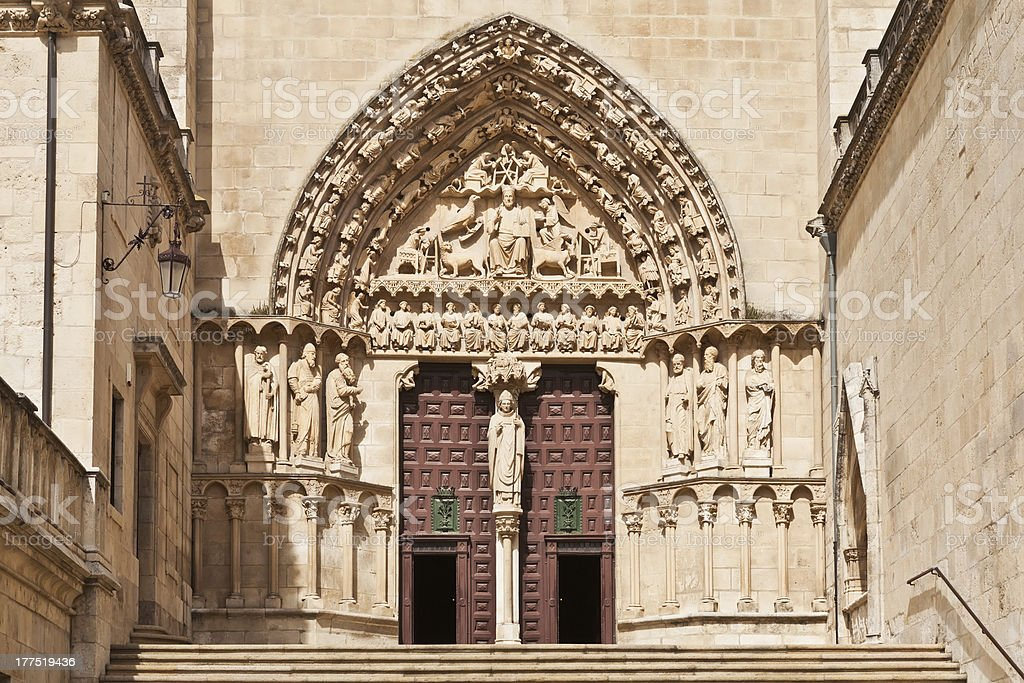 Entrance to cathedral in Burgos, Spain royalty-free stock photo