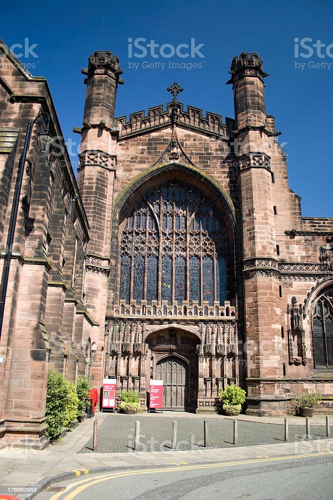 Entrance to Chester Cathedral royalty-free stock photo