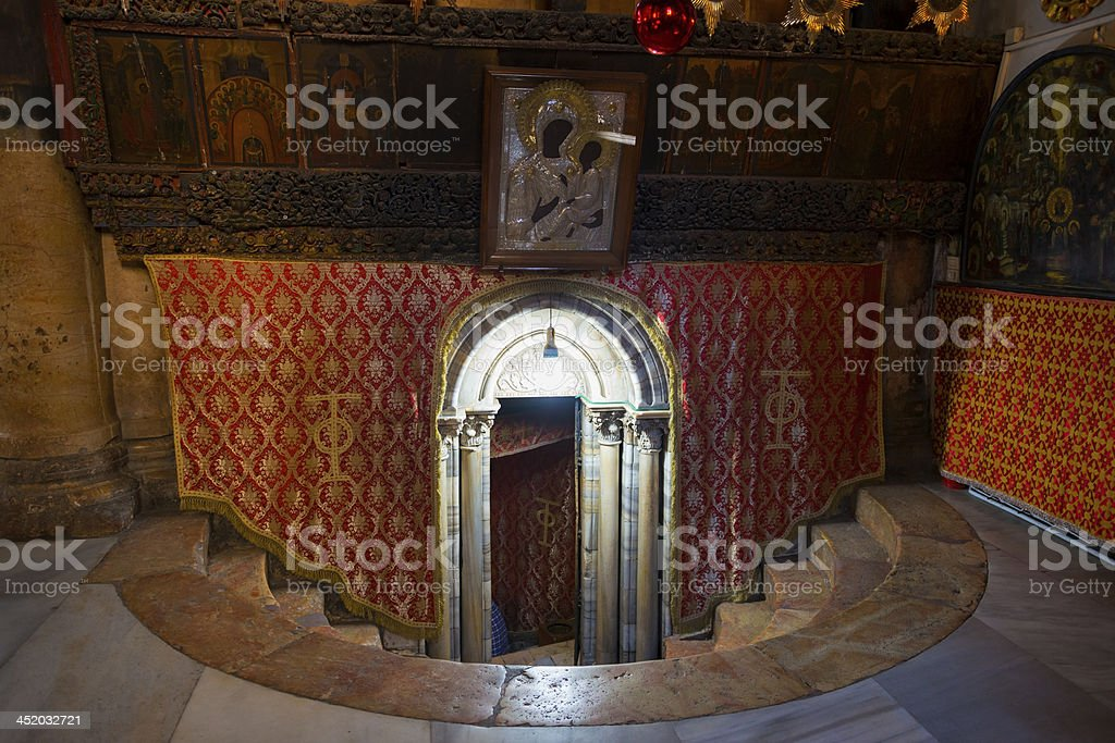 Entrance to Church of the Nativity grotto in Bethlehem royalty-free stock photo
