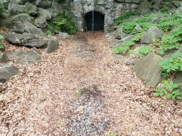 entrance to coal mine with metal door and leaves - scranton pa stock photos and pictures