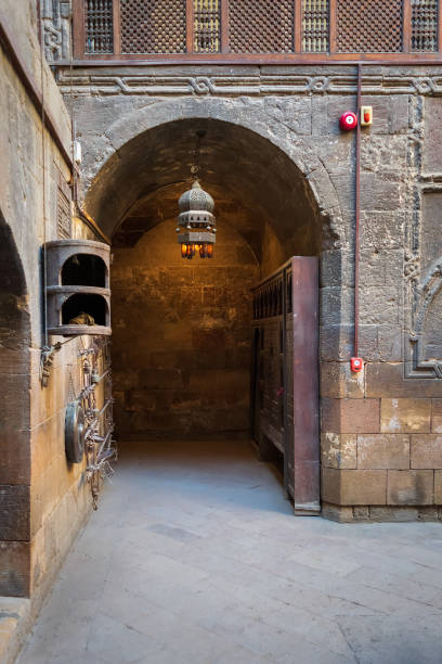 Entrance to courtyard of Gayer Anderson historic house, adjacent to Mosque of Ahmad ibn Tulun, Cairo, Egypt stock photo