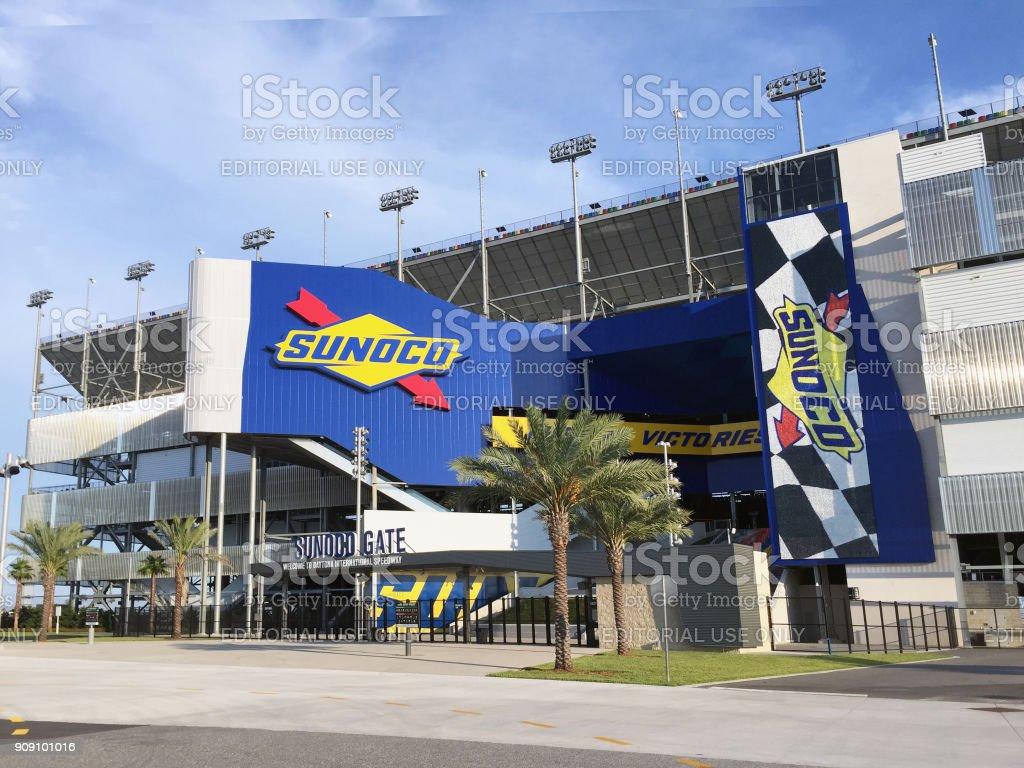 Entrance to Daytona International Speedway stock photo