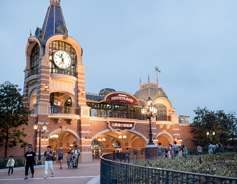 Shanghai, China - June 7, 2016: Image at dusk of the Entrance to Shanghai Disneyland Park, located in Chuansha New Town of Pudong New Area, is officially confirmed to open on June 16th, 2016. Is the sixth in the world and the second in China (after Hong Kong Disneyland).