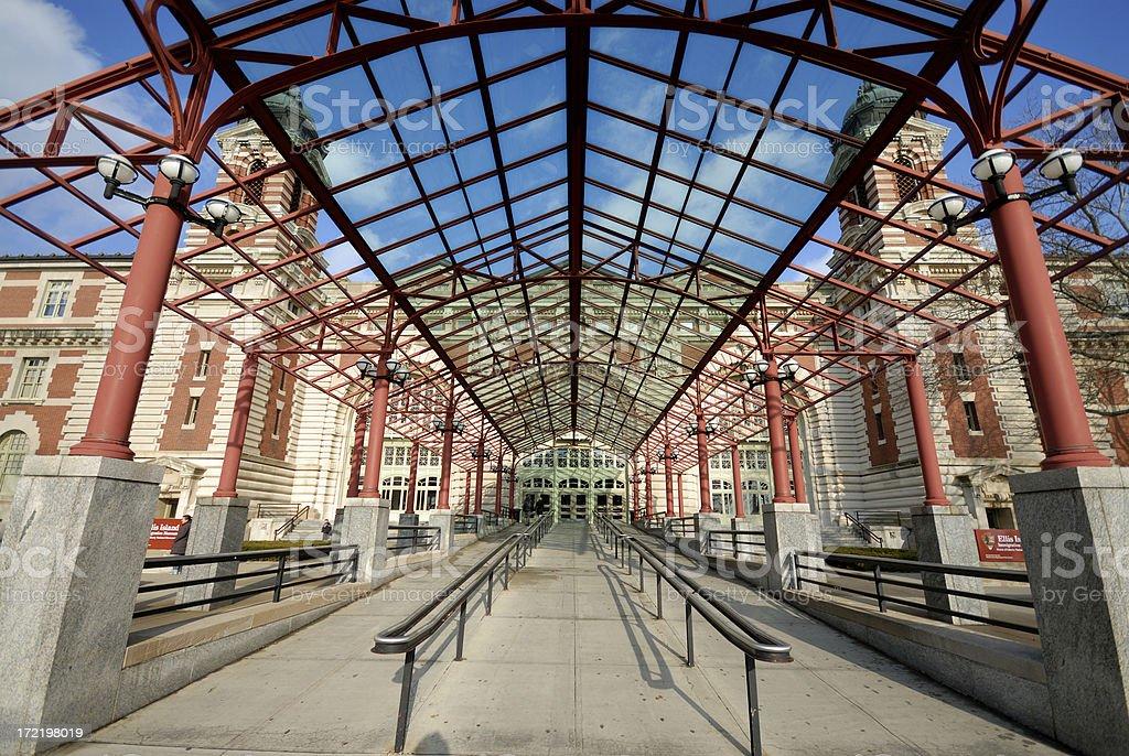 Entrance to Ellis Island Immigration Museum stock photo