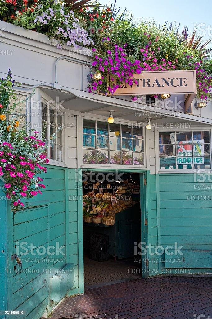 Entrance to farmers market stock photo