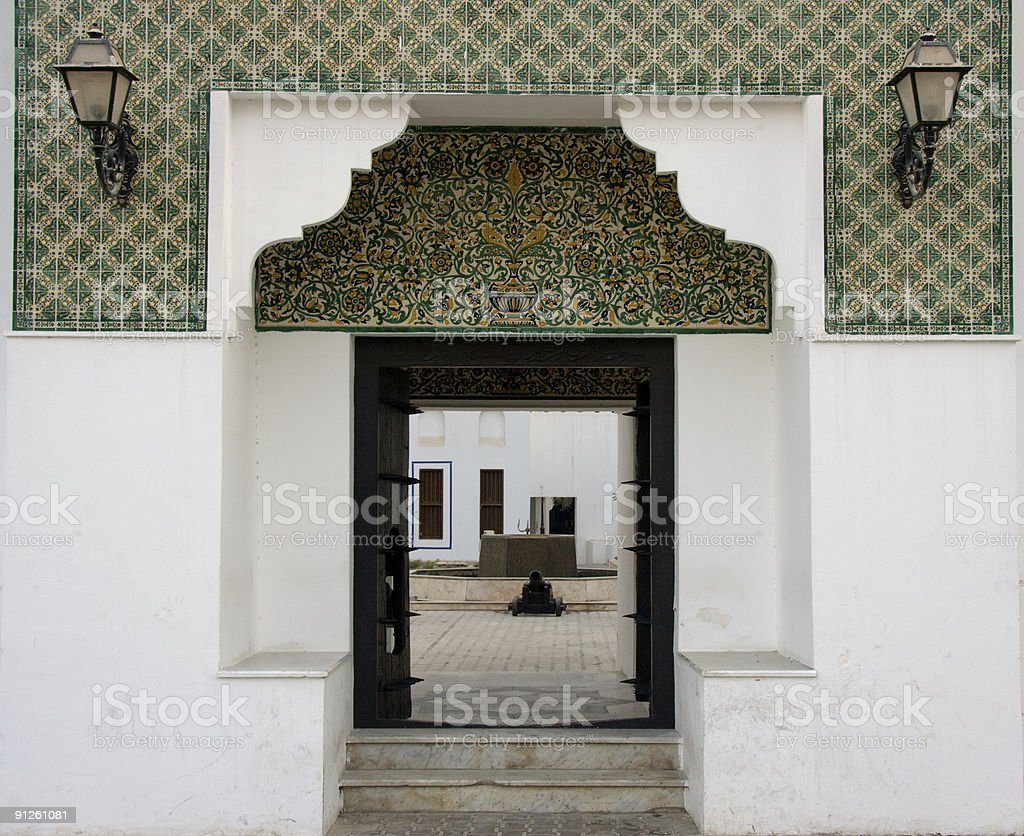 Entrance to Fort in Abu Dhabi royalty-free stock photo