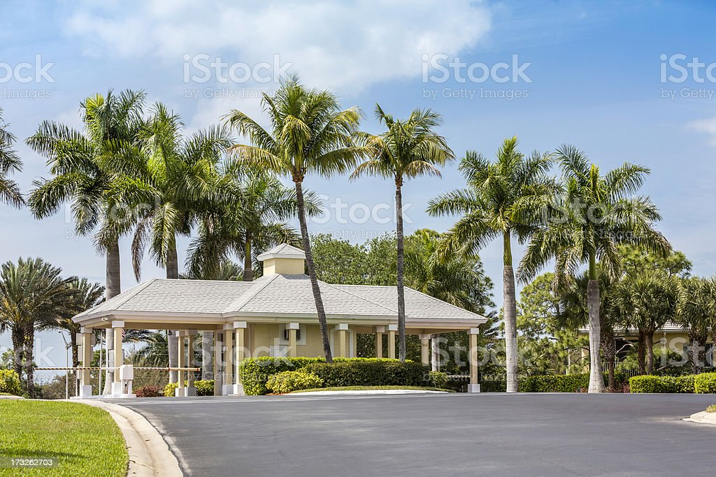 Entrance to gated community in Naples, Florida stock photo