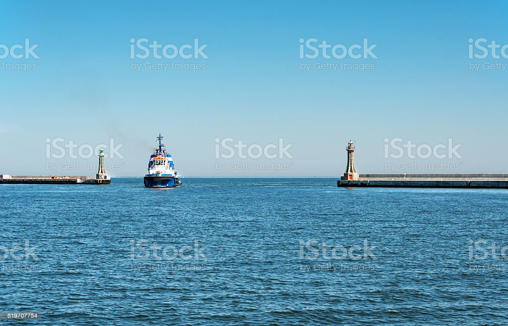 Entrance to Gdynia harbor in Poland stock photo