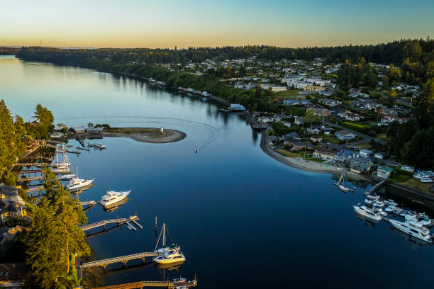 Entrance To Gig Harbor Washington Aerial Landscape Aerial view of Gig Harbor entrance around sunset gig harbor stock pictures, royalty-free photos & images
