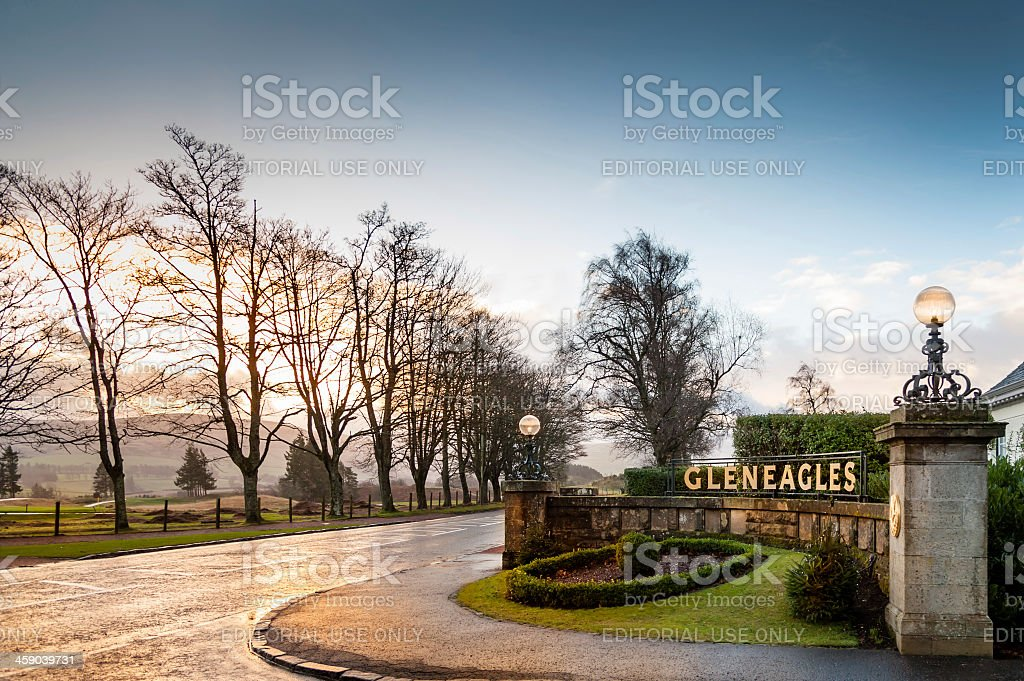 Entrance to Gleneagles Hotel at sunrise. stock photo
