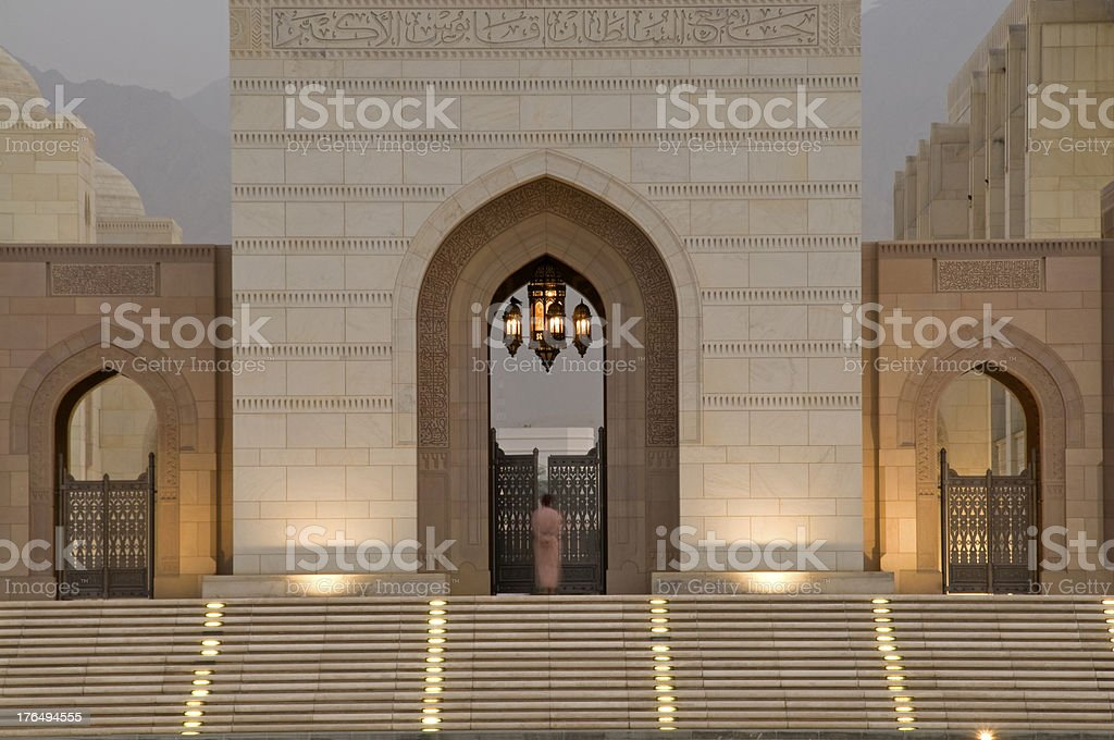 Entrance to Grand Mosque in Muscat royalty-free stock photo