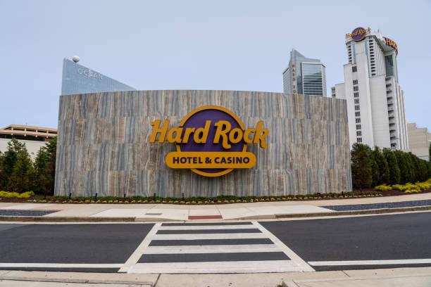 Entrance to Hard Rock Casino in Atlantic City on New Jersey coastline stock photo