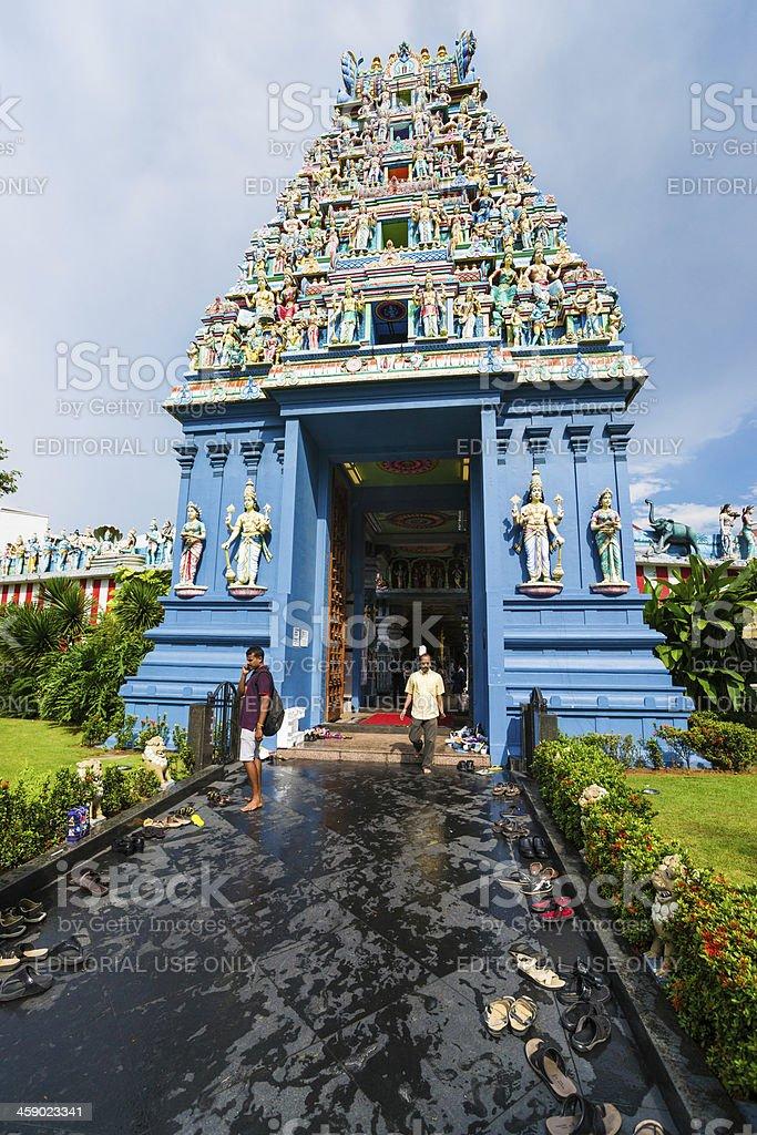 Entrance to Hindu Sri Srinivasa Perumal Temple in Singapore City stock photo