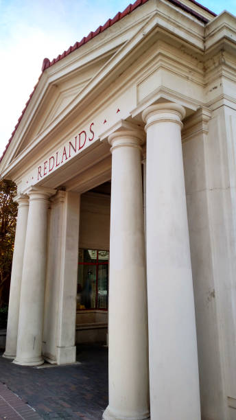 Entrance to historic old Railroad Station in downtown Redlands California Entrance to historic old Railroad Station in downtown Redlands California redlands california stock pictures, royalty-free photos & images